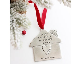 First Home Ornament - First Christmas in Our New Home - Housewarming Gift - Handmade - Mr and Mrs Gift - Custom House Ornament - We Moved