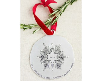 Personalized Ornament - Family Ornament - Snowflake Ornament - Baby's First Christmas Ornament - Newlywed Ornament - Mr & Mrs Ornament