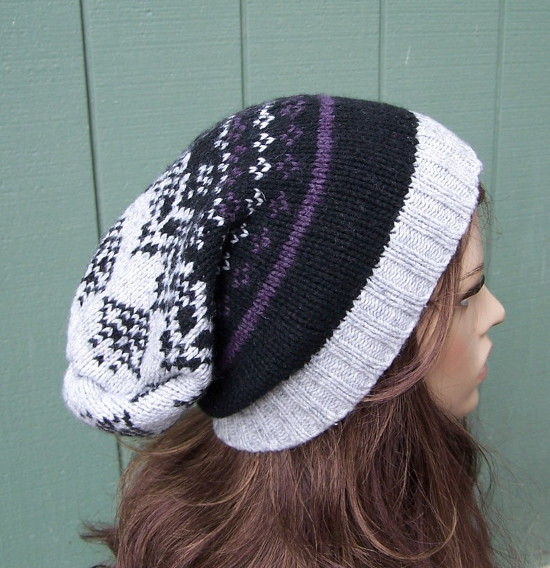 RECYCLED SWEATER HAT Fair Isle beanie slouch beanie wool blend slouchy Bohemian handmade upcycled multicolored beanie unisex adult xl