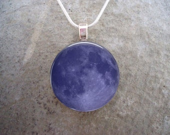 Blue Moon Necklace - Glass Tile Pendant Jewelry or Keychain - Astronomy Gift - Science Teacher - Free Shipping - sku MOON-BLUE