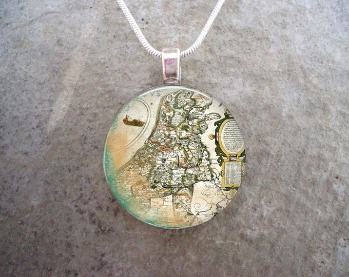 Victorian Map Necklace - Unique Atlas Illustration - 1 Inch Diameter Domed Glass Tile Pendant - Gift for Mom or Dad - Free Shipping Anywhere