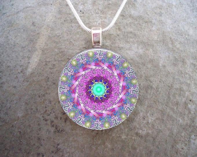 Mandala Jewelry - Glass Pendant Necklace - Mandala 40