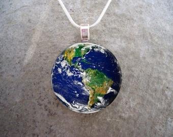 Earth Jewelry - Western Hemisphere Glass Pendant Jewelry - 1 Inch Diameter Domed Circle - STEM Theme Gift - sku EARTH-WEST