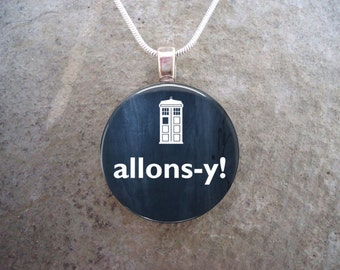 Doctor Who Jewelry - Glass Pendant Necklace - Allons-y - Free Shipping - Style DW-ALLONSY