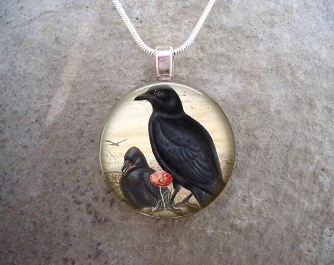 Crow Jewelry - Glass Pendant Necklace - Victorian Bird