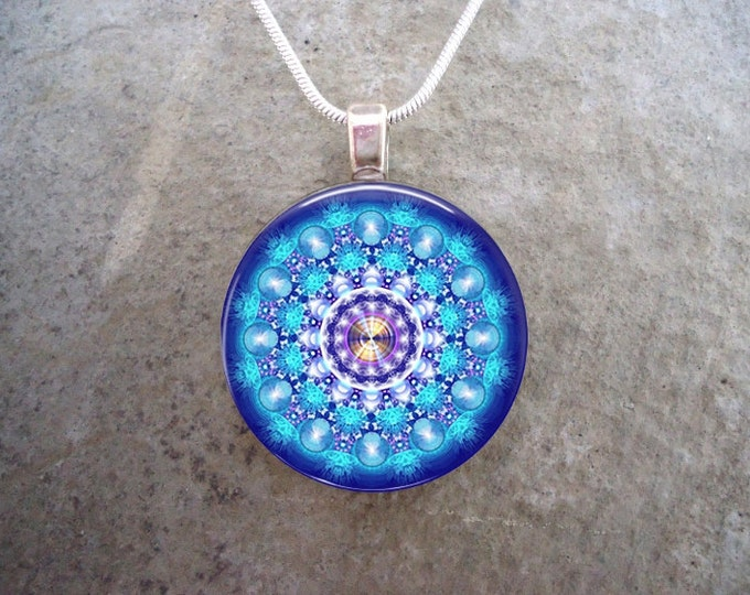 Mandala Jewelry - Glass Tile Pendant Necklace - Witchy Jewelry - Blue and White