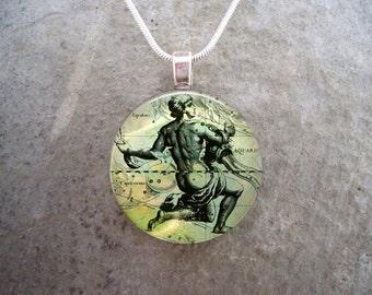Aquarius Jewelry - Glass Pendant Necklace - Victorian Horoscope - Free Shipping - Style HORO-AQUARIUS