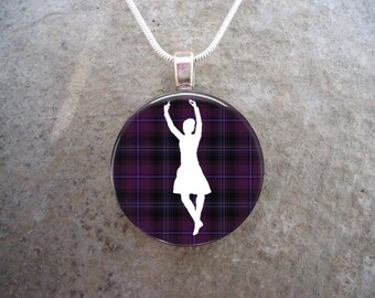Celtic Jewelry - Glass Pendant Necklace - Highland Bagpipe Jewellery - Dancer on Violet Tartan