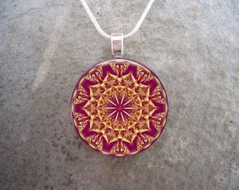 Mandala Jewelry - Glass Pendant Necklace - Free Shipping - sku MANDALA37