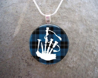 Celtic Jewelry - Glass Pendant Necklace - Highland Bagpipe Jewellery - Bagpipes on Blue Tartan - Free Shipping - sku HIGHLAND07