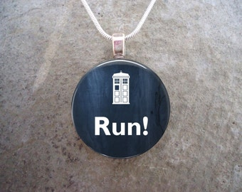 Doctor Who Jewelry - Run - Glass Pendant Necklace