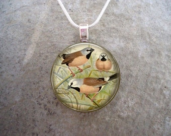 Vintage Songbird Jewelry - Glass Pendant featuring three small birds in a bush - 2.5cm Diameter or 1 Inch - Free Shipping - Style BIRD12