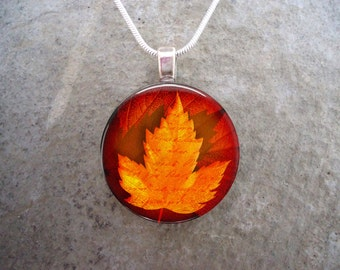Autumn Jewelry - Rusty Red, Orange and Yellow Fall Leaves Pendant For Necklaces or Key Chains - Free Shipping Worldwide - Style AUTUMN10