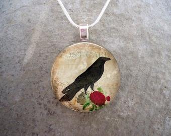 Crow Jewelry - Bird Jewellery - Glass Pendant Necklace - Raven 17