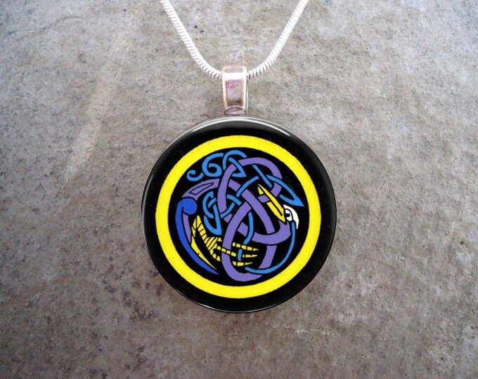 Celtic Jewelry - Glass Pendant Necklace - Great Gift For Anyone
