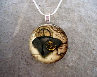 Pirate 4 - Pirate Hat Jewelry - Glass Circle Pendant Necklace