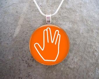 Star Trek Jewelry -  Live Long And Prosper - Glass Pendant Necklace - LLAP on Orange