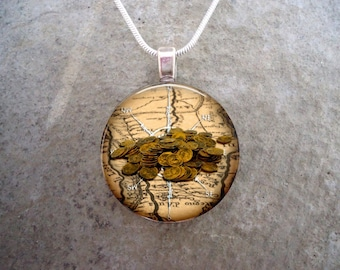 Pirate 11 - Pirate Treasure Map Jewelry - Glass Pendant Necklace