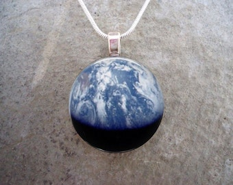 Planet Earth Necklace - Earthrise Glass Pendant - Astronomy - Science Jewelry