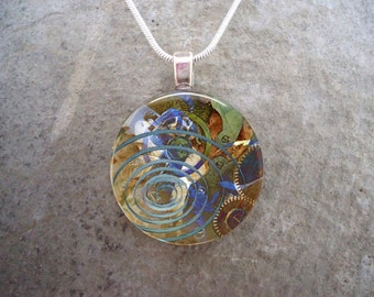 Steampunk Necklace - Glass Pendant Jewelry