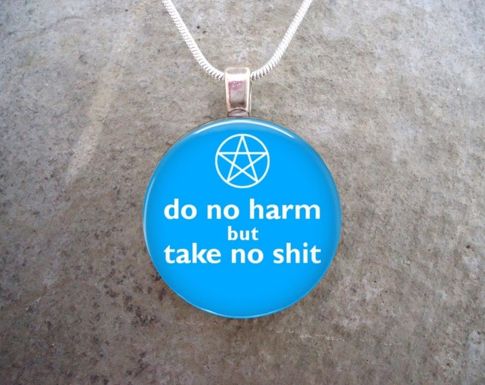 Wiccan Jewelry - Glass Pendant Necklace - Do No Harm But Take No Sh*t - Light Blue