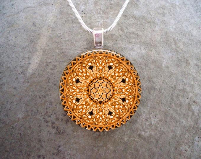 Celtic Jewelry - Glass Pendant Necklace - Celtic 32 orange