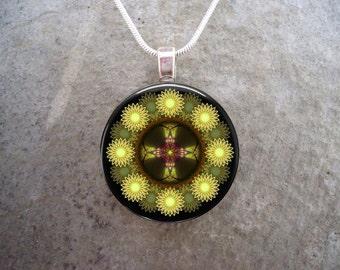 Mandala Jewelry - Glass Pendant Necklace - Free Shipping - sku MANDALA39
