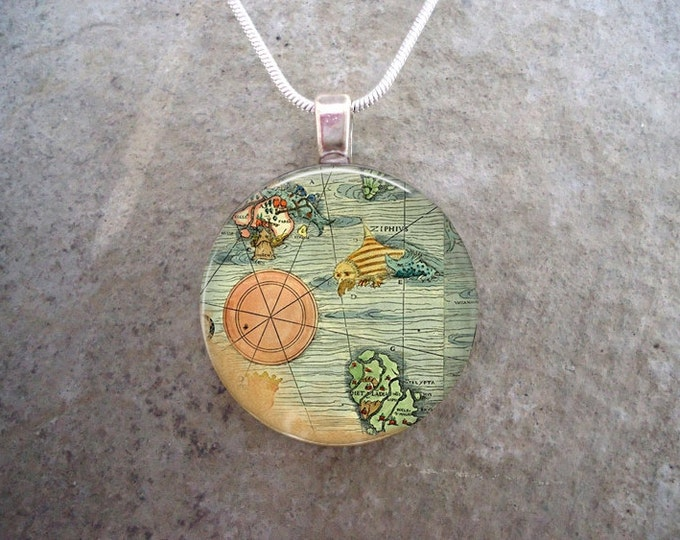 Antique Ocean Map Illustration Jewelry - Nautical Chart Pendant Necklace - 1 Inch Diameter Domed Glass - Free Shipping