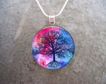 Tree Jewelry - Glass Pendant Necklace - Gift for Mom, Sister, Teachers