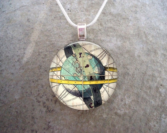 Antique Map Jewelry - Globe Map Art Necklace or Key Chain - Travel Gift - Cosplay Costume Pendant - 1 Inch Diameter Glass Tile