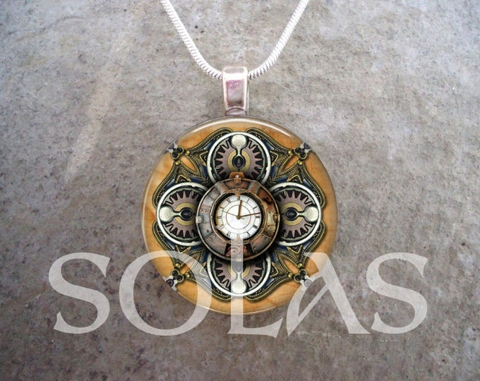Steampunk Necklace - Glass Pendant Jewelry - Steampunk 1-1