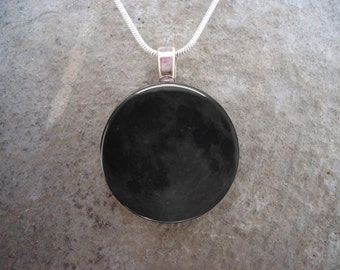 Moon Phase Jewelry - New Moon Minimalist Pendant - Keychain Variation Available for Unisex Gift Giving - Free Shipping - sku MOON-NEW