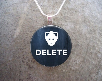 Doctor Who Necklace - DELETE - Glass Pendant Jewelry - Free Shipping - sku DW-DELETE