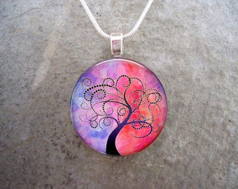 Tree of Life Pendant- Glass Tile Necklace - 1 Inch Diameter Domed Glass - Blue and Pink - Free Shipping