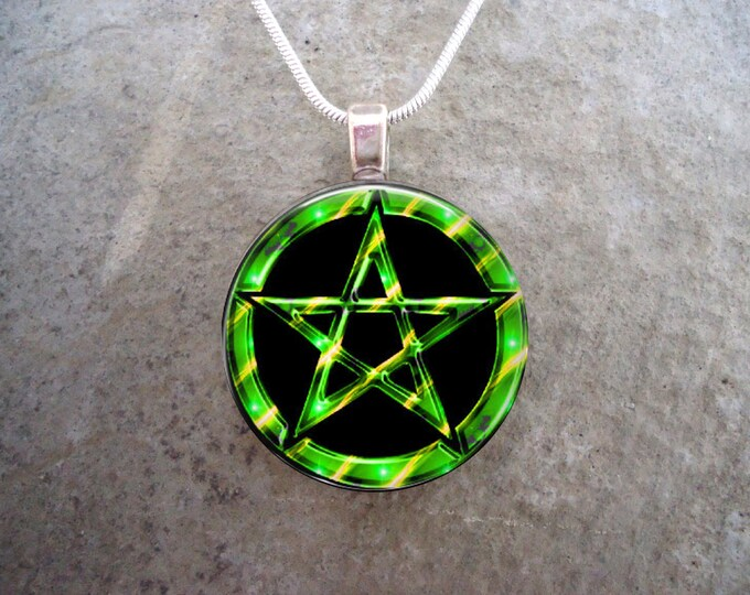 Wiccan or Pagan Black and Green Pentacle Jewelry - Hand Made 1 Inch Diameter Domed Glass Pendant Necklace or Key Chain Charm - Free Shipping