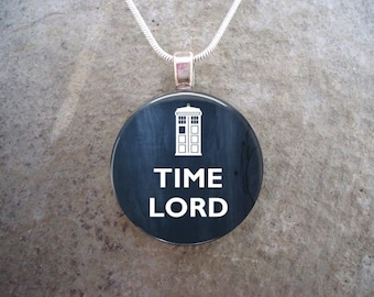 Doctor Who Jewelry - Glass Pendant Necklace - TIME LORD