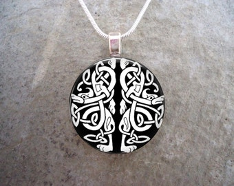 Black & White Knotwork Animals - Celtic Jewelry - 1 Inch Glass Pendant Necklace - Teacher Gift - Free Shipping from Canada- Style CELTIC12