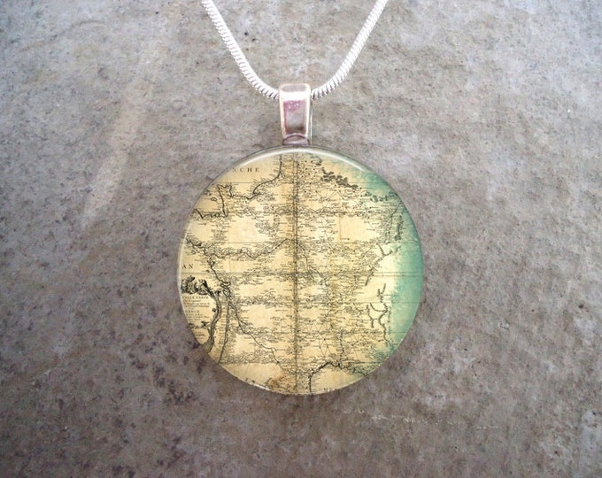 Vintage Map Illustration Jewelry - Pendant Necklace or Keychain - Cotton Gift Bag Included - Free Shipping Anywhere
