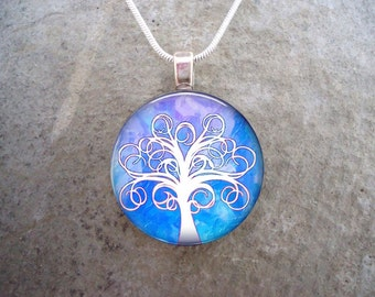 Tree Jewelry - Glass Pendant Necklace - Tree of Life Jewellery - Tree 7