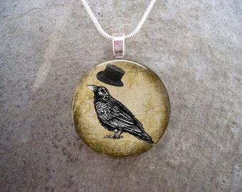 Crow Jewelry - Bird Jewellery - Glass Pendant Necklace - Free Shipping - sku RAVEN15