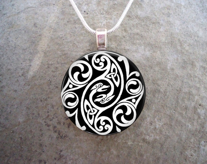 Celtic Knotwork Jewelry - Glass Tile Pendant Necklace - Black and White Necklace - Free Shipping