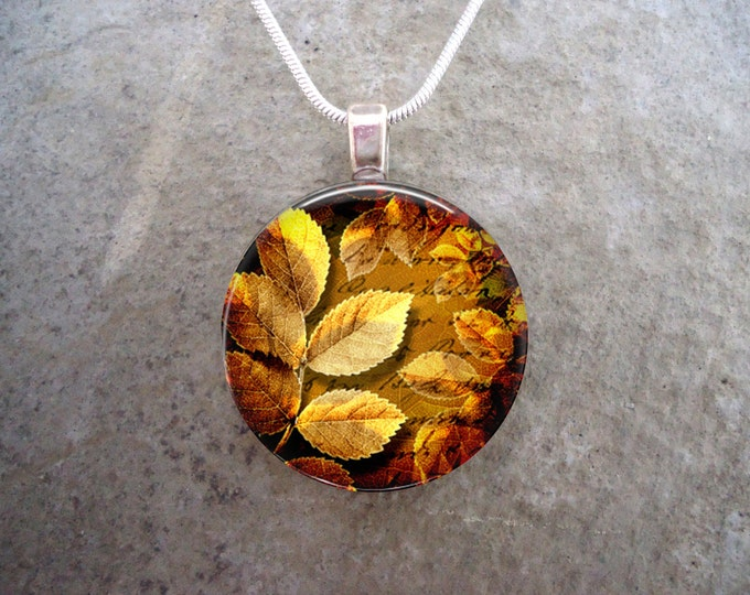 Leaf jewelry - Glass Pendant Necklace - Autumn Leaves 20