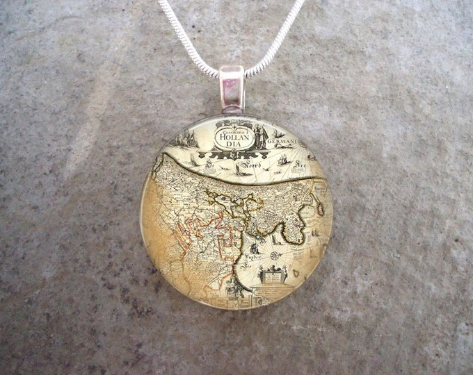 Vintage Illustration Map Jewelry - Steampunk Inspired Necklace - Keychain Available - Free Shipping Anywhere