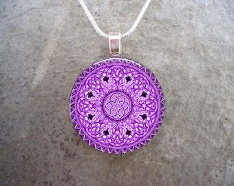 Celtic Jewelry - Glass Pendant Necklace -  - Free Shipping - sku CELTIC32PURPLE