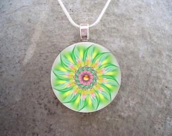 Mandala Jewelry - Glass Pendant Necklace - Free Shipping - sku MANDALA24