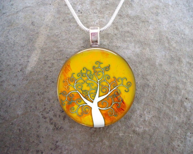 Tree Jewelry - Glass Pendant Necklace - Tree of Life Jewellery - Tree 24
