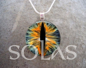 Cat's Eye Inspired Pendant Necklace - Glass Tile Jewelry - Keychain Option Available - Great Gift for Teens - Free Shipping - sku EYE07