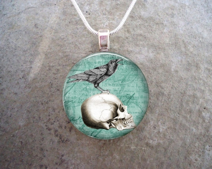 Crow Necklace - Bird Lover Gift - Glass Tile Pendant Necklace - Free Gift Bag and Free Shipping