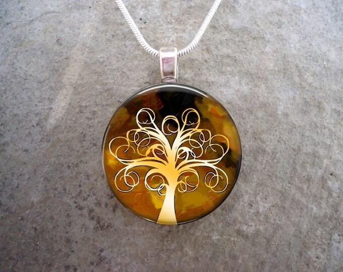 Tree Jewelry - Glass Pendant Necklace - Tree of Life Jewellery - Tree 17