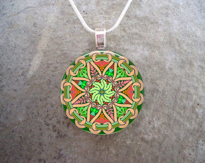 Celtic Jewelry - Glass Pendant Necklace - Celtic Decoration 23